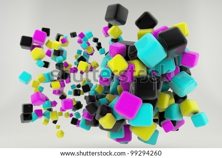 Abstract Cyan Magenta Yellow and Black cubes isolated on white background