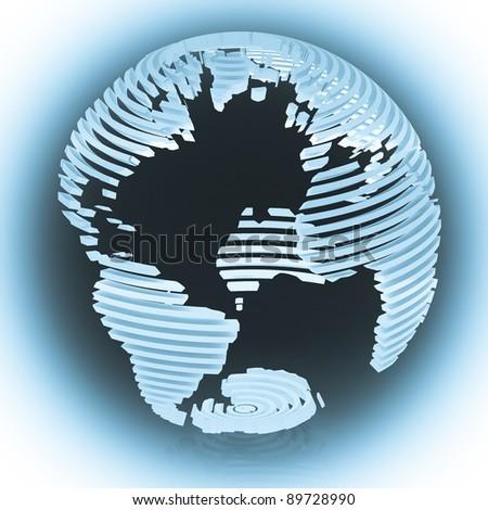 Abstract cyan sliced globe.