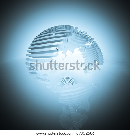 Abstract cyan sliced globe.