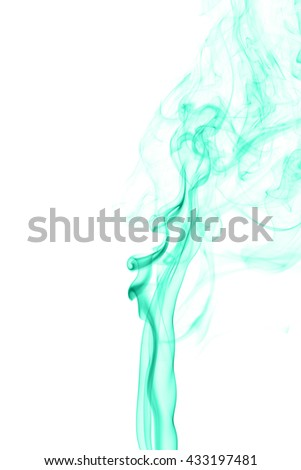 Abstract cyan smoke on white background from the incense sticks #433197481