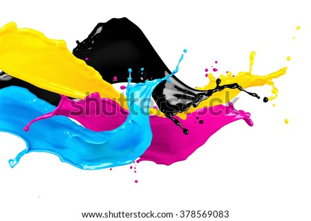 abstract CYMK color splash isolated on white background #378569083