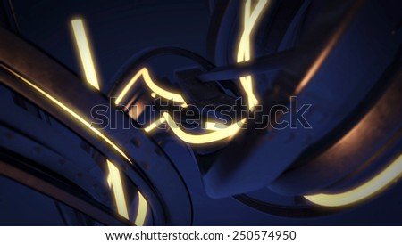 Stock Photo Abstract 3D Background Dark Blue and Light Glowing Bright Yellow Lines
