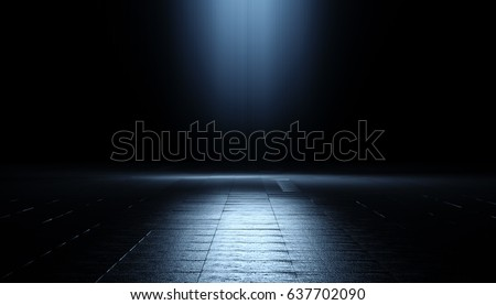 Abstract 3d Background with light. 3d image of grunge classic black texture. Darkness concept. CGI illustration.