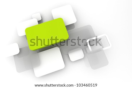 Abstract 3D box render Background Technology Green Color bubble for Text