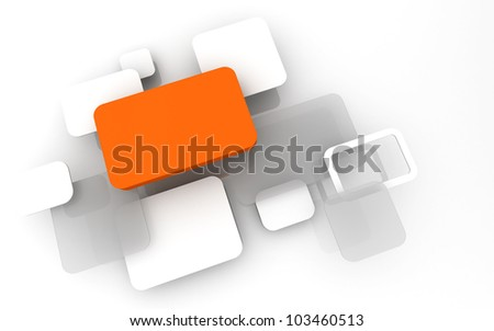 Abstract 3D box render Background Technology orange Color bubble for Text