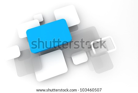 Abstract 3D box render Background Technology sky blue Color bubble for Text