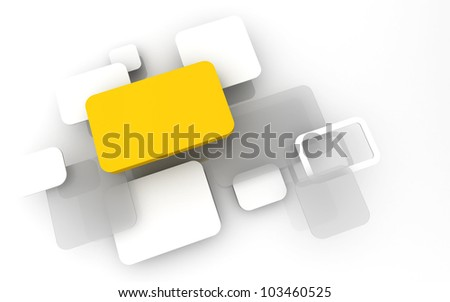 Abstract 3D box render Background Technology yellow Color bubble for Text