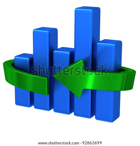 Abstract 3d business chart graph with green arrow around
