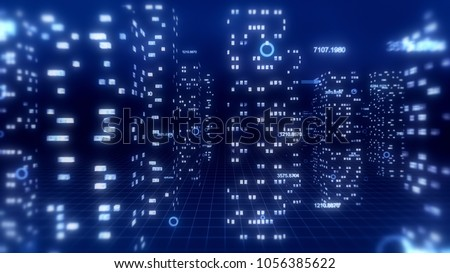 Abstract 3d city render with financial numbers around. Blue theme.