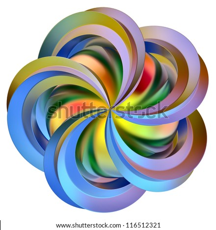 abstract 3d colored flower as a symbol of contemporary art