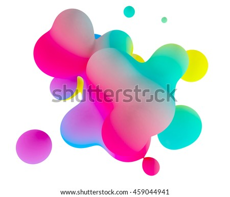 Abstract 3d colorful gradient drop liquid on white background