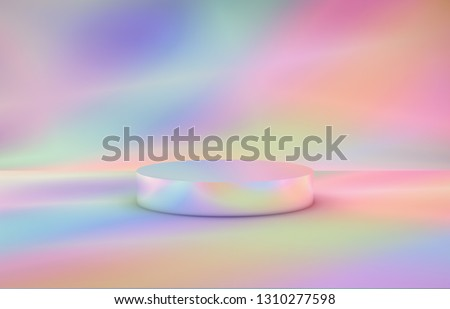 Abstract 3d composition. Fashion beauty podium backdrop for product display. 3d holographic color background.