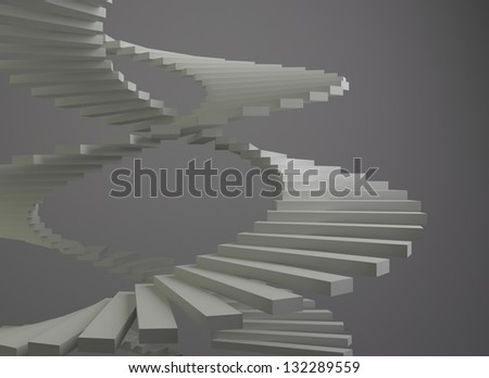 Abstract 3D composition of white spiral staircase