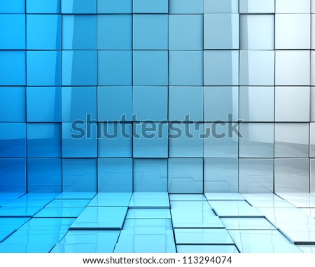 abstract 3d cubes background in blue toned