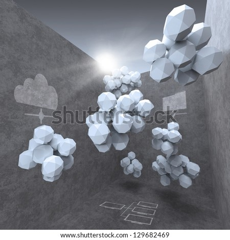 abstract 3d design for cloud networking computer concept