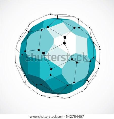 Abstract 3d faceted figure with connected black lines and dots. low poly green design element created with squares and pentagons. Cybernetic orb shape with grid and lines mesh.