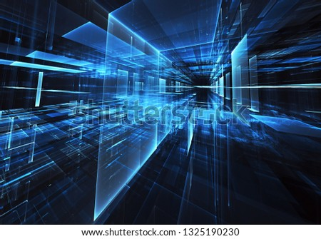 Abstract 3D fractal background, 3D illustration. Virtual Neon City #1325190230