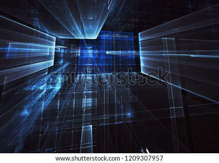 Abstract 3D fractal background, texture. Virtual Neon City #1209307957