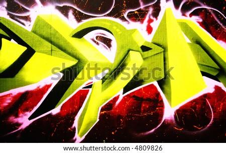 Stock Photo Abstract D Graffiti Art on 2011 Employer Authorization Card