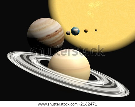 Abstract 3D illustration, background of our solar system.  Exploration concept. Copy space provided.