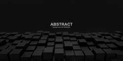 Abstract 3d illustration. Black blocks on a black background.