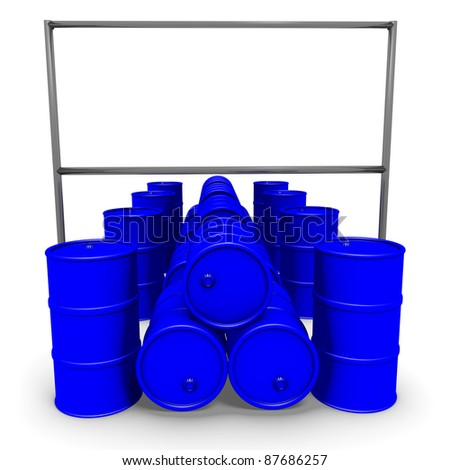 Abstract 3d-illustration: Blue barrels with blank billboard