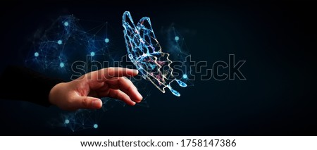Abstract 3D illustration change future technology business concept with butterfly transform and human hand Foto stock ©