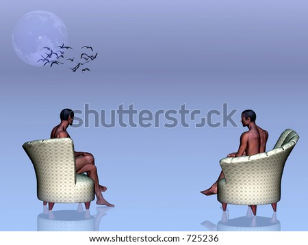 Abstract D 3 illustration depicting loneliness, being alone. Afro american man sitting in chair, staring into infinity.