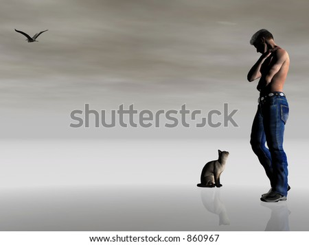 Abstract  3D illustration depicting loneliness, being alone. Muscular man looking at his only friend, the domestic cat.  Surreal dark dramatic background, very moody.  Copy space provided.