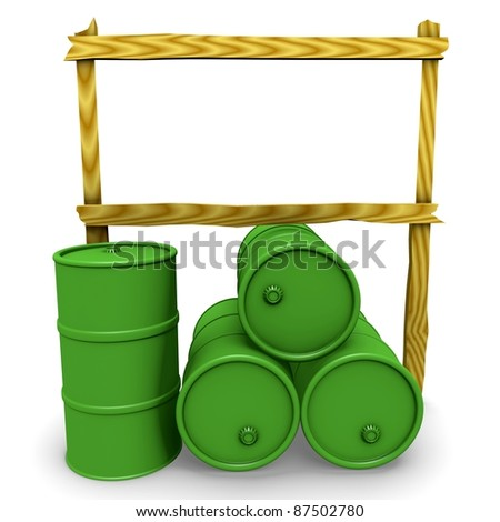 Abstract 3d-illustration: Green barrels with blank billboard
