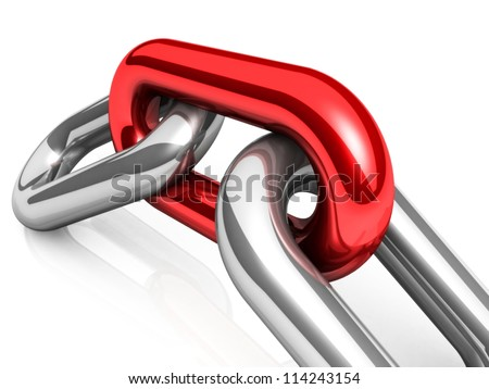 Abstract 3D illustration of a single chain link isolated on white background. Business and Sports concept