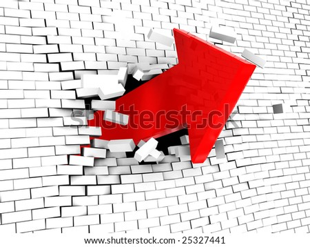abstract 3d illustration of arrow breaking white brick wall