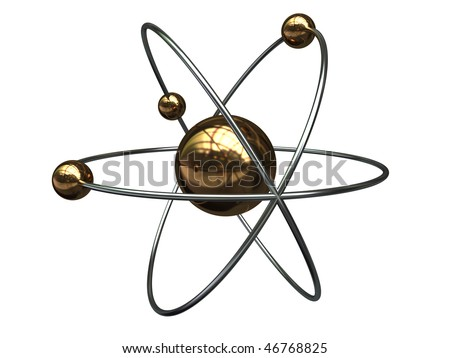 abstract 3d illustration of atom symbol isolated over white background