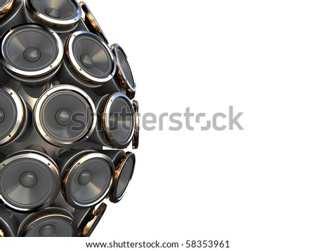abstract 3d illustration of background with audio speakers at left side