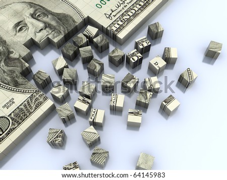 abstract 3d illustration of background with dollar banknote assembling