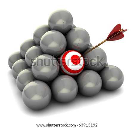 abstract 3d illustration of balls pyramid, right target concept
