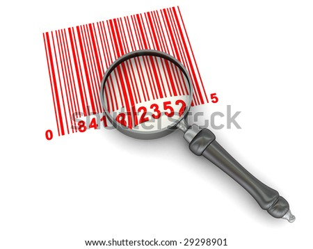 abstract 3d illustration of bar-code and magnify glass over white background