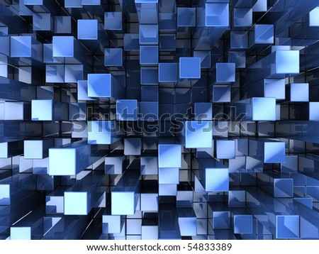 abstract 3d illustration of blue glass boxes background