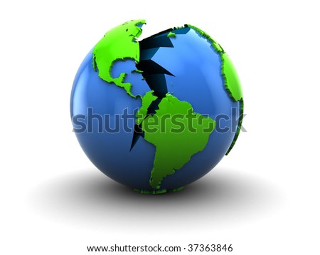 abstract 3d illustration of broken earth over white background - stock photo