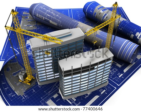 abstract 3d illustration of building construction on blueprint