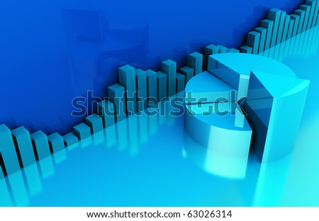 abstract 3d illustration of business charts blue background