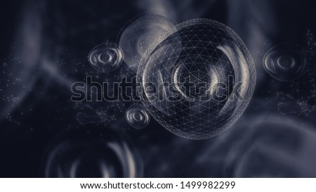 Abstract 3D illustration of cells with geometric elements. Biotechnology concept.