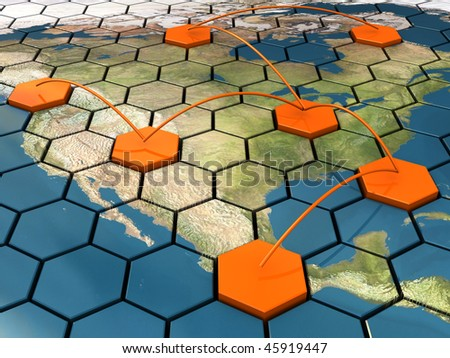 abstract 3d illustration of cellular network on map