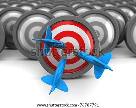 abstract 3d illustration of choice right target concept