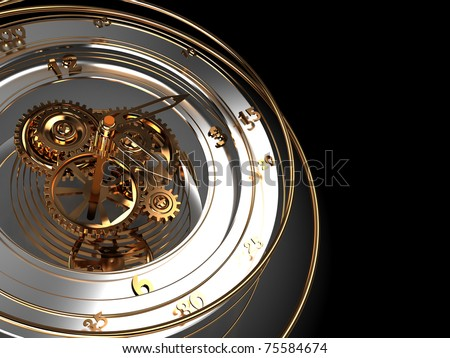 abstract 3d illustration of clock mechanism background with copy space
