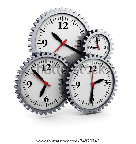 abstract 3d illustration of clocks gear wheels, over white background