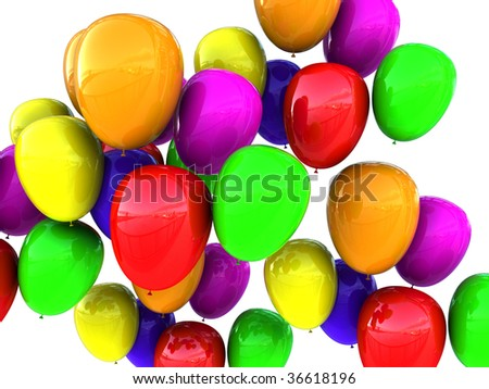 abstract 3d illustration of colorful balloons background