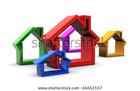 abstract 3d illustration of colorful houses symbols, over white background
