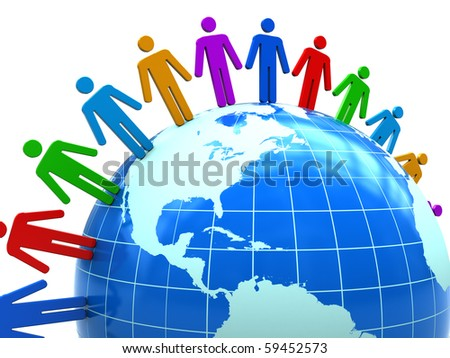 abstract 3d illustration of colorful people around earth globe