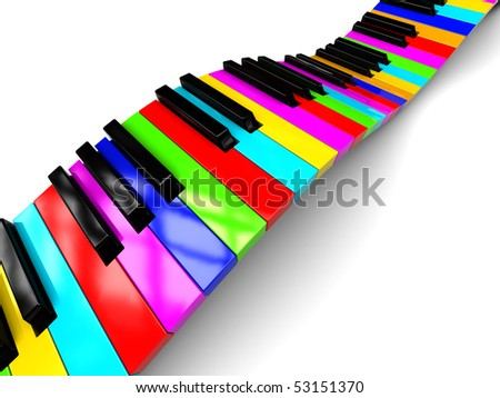abstract 3d illustration of colorful piano keyboard over white background